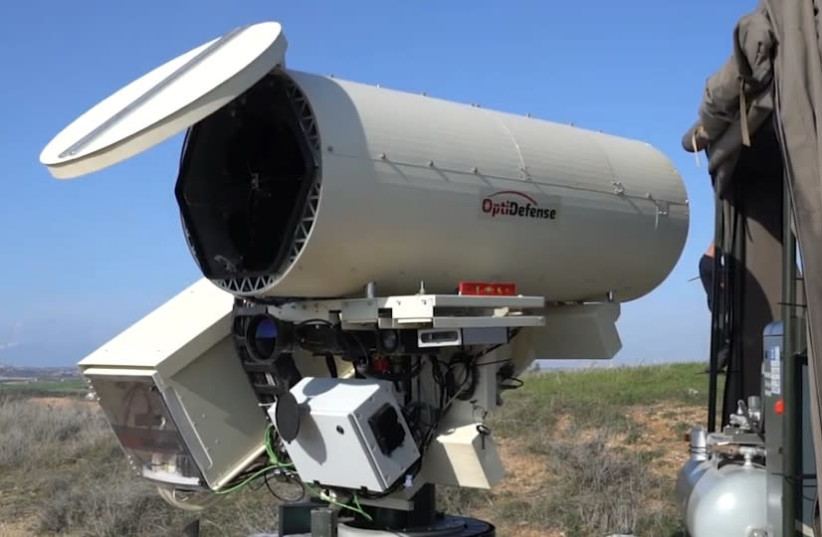 The OptiDefence laser defense system, which can neutralize attacks by balloons and drones (photo credit: screenshot)