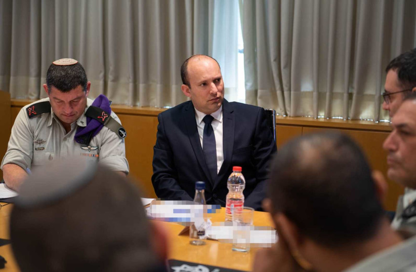 Defense Minister Naftali Bennett during a special meeting discussing what will happen if a national state of emergency is declared due to coronavirus, March 2020 (photo credit: Courtesy)