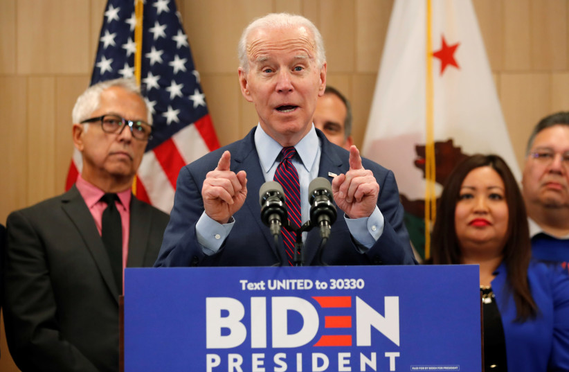 Democratic U.S. presidential candidate and former Vice President Joe Biden speaks during a campaign stop in Los Angeles, California, U.S., March 4, 2020 (photo credit: REUTERS/MIKE BLAKE)
