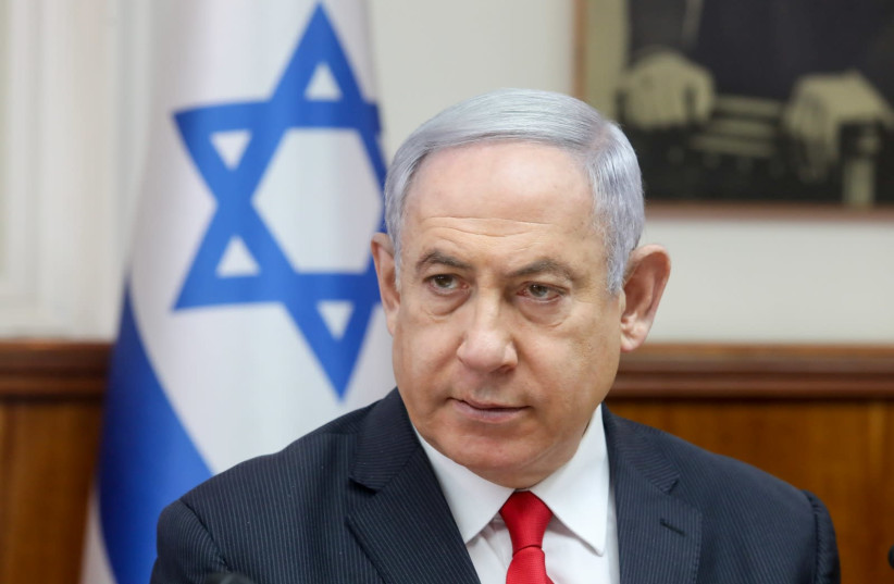 Prime Minister Benjamin Netanyahu at a cabinet meeting on March 8, 2020 (photo credit: MARC ISRAEL SELLEM)
