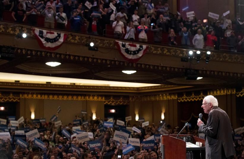 U.S. Democratic presidential candidate Bernie Sanders speaks during a rally in St Louis, Missouri, US, March 9, 2020. (photo credit: LUCAS JACKSON/REUTERS)