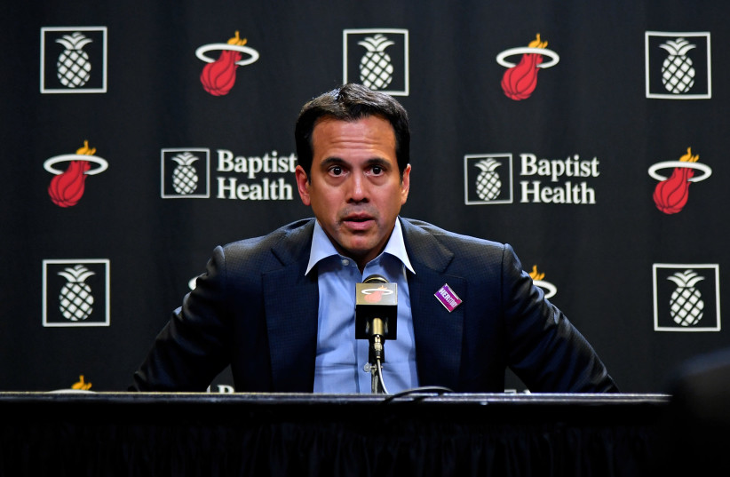 Miami Heat head coach Erik Spoelstra speaks with the media after the game at American Airlines Arena about the NBA suspending the season due to the Coronavirus pandemic (photo credit: JASEN VINLOVE-USA TODAY SPORTS / VIA REUTERS)