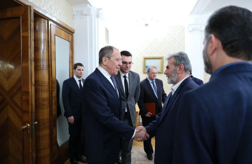 Russian FM Lavrov meeting with Palestinian Islamic Jihad Secretary-General Ziyad al-Nakhala (photo credit: RUSSIAN FOREIGN MINISTRY)