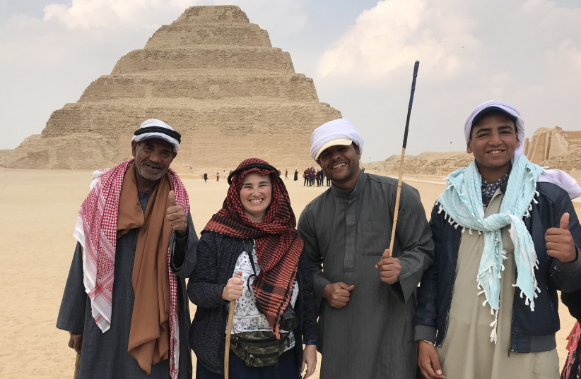THE WRITER (second from the left) at the ancient pyramids of Saqqara. (photo credit: (DAVID FIALKOFF)