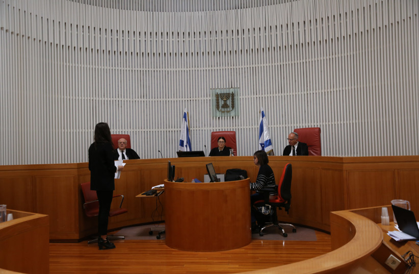 The High Court of Justice during a hearing (photo credit: ALEX KOLOMOISKY / POOL)