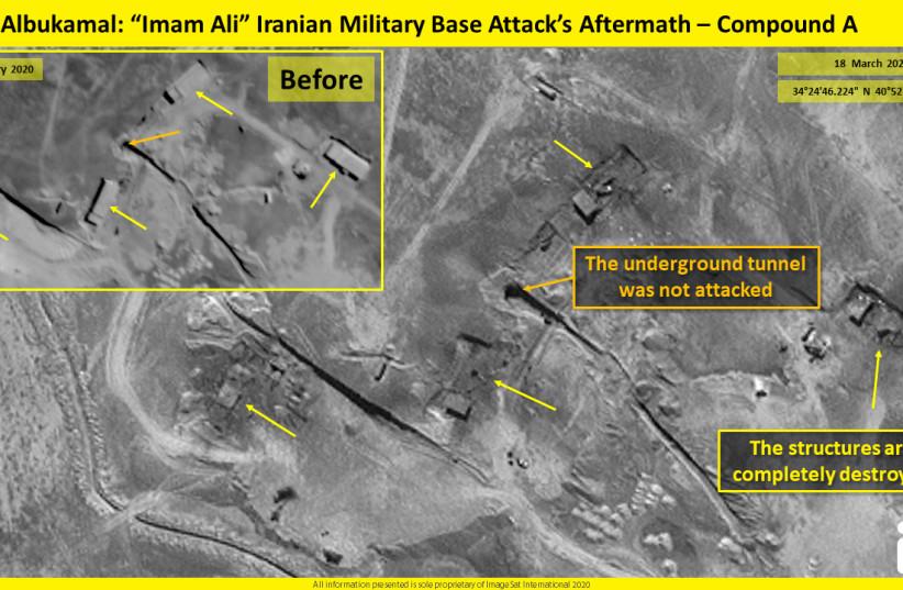 """Syria, Albukamal: """"Imam Ali"""" Iranian military base completely destroyed (photo credit: IMAGESAT INTERNATIONAL (ISI))"""