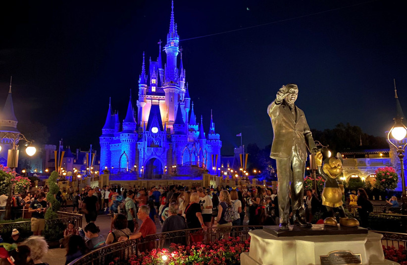 General view of a farewell event at Disney World on the final night before closure due to coronavirus concerns, in Orlando, Florida, U.S., March 15, 2020 (photo credit: THRILL GEEK/VIA REUTERS)