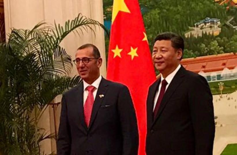 AMBASSADOR TO China Zvi Heifetz with Chinese leader Xi Jinping.  (photo credit: Courtesy)