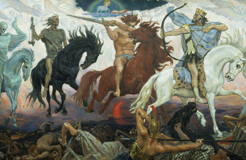 Four Horsemen of the Apocalypse, an 1887 painting by Viktor Vasnetsov. From left to right are Death, Famine, War, and Conquest; the Lamb is at the top. (photo credit: Wikimedia Commons)