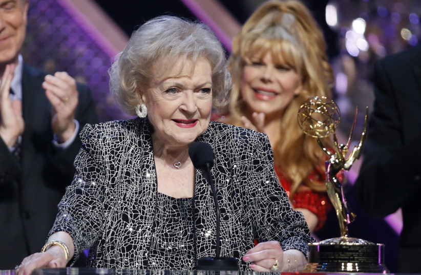 Actress Betty White accepts the Lifetime Achievement Award at the 42nd Annual Daytime Emmy Awards in Burbank (photo credit: REUTERS)