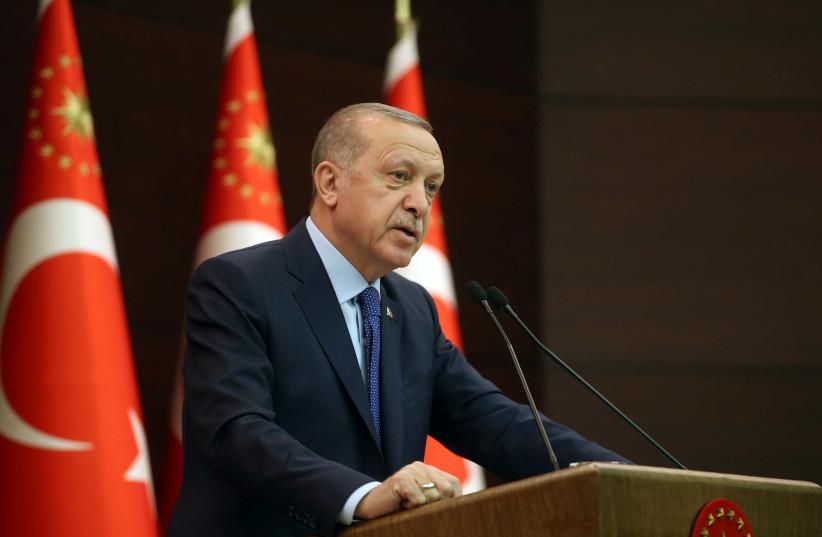 Turkish President Recep Tayyip Erdoğan (photo credit: HANDOUT/REUTERS)