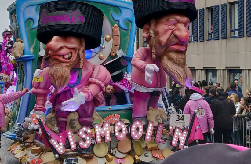 A float featuring antisemitic caricatures at the Aalst Carnival parade in Belgium on March 2 (photo credit: FJC)
