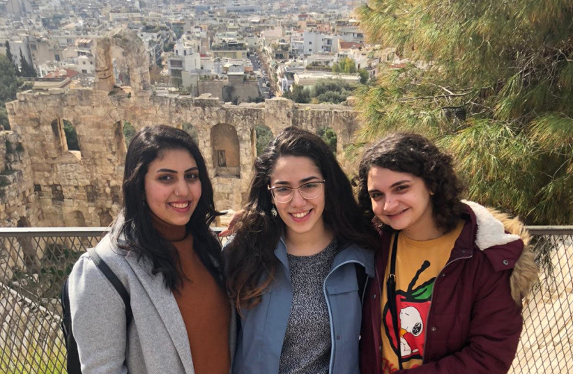 Students at University of Haifa gather in Athens, Greece as part of a delegation to help refugees from Syria and North Africa. (photo credit: Courtesy)