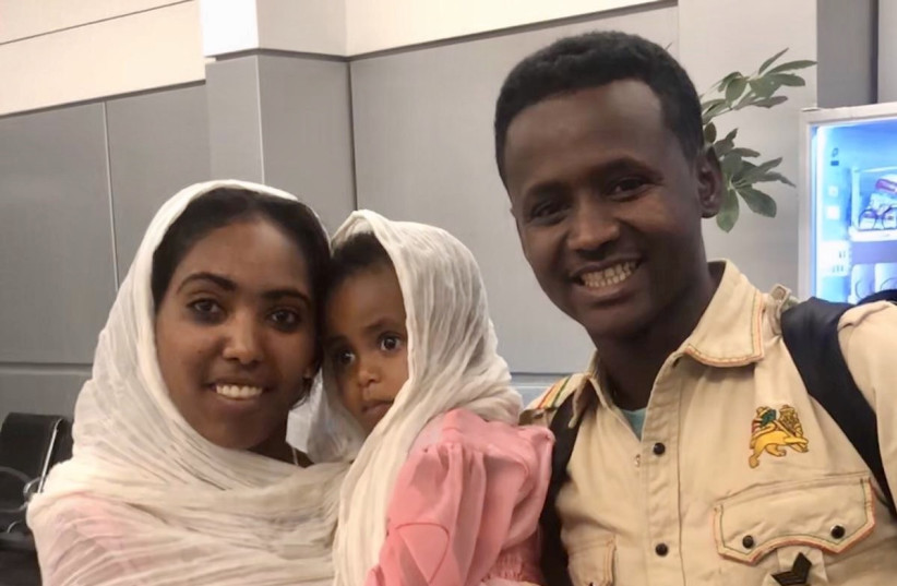 A young couple who were among the 72 immigrants from Ethiopia whom Israel welcomed last month in the midst of the Covid-19 pandemic. (photo credit: Courtesy)