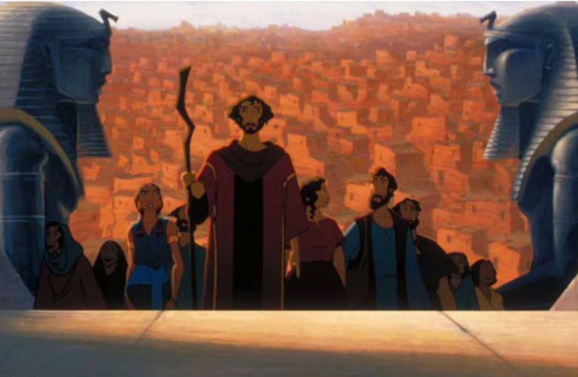 A still from the film showing Moses leading his people out of Egypt. (photo credit: screenshot)