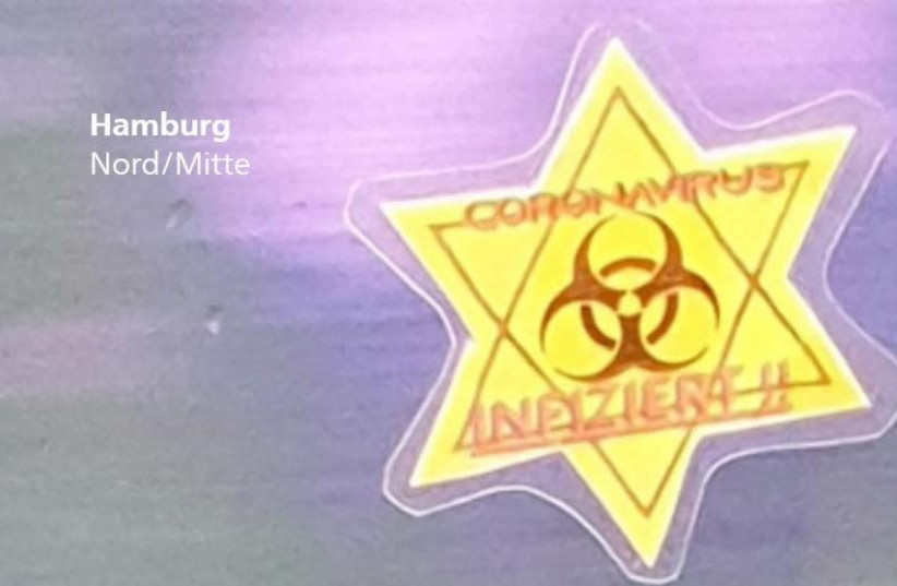 Antisemitic sticker found stuck to the window of a Hamburg subway car. (photo credit: Courtesy)