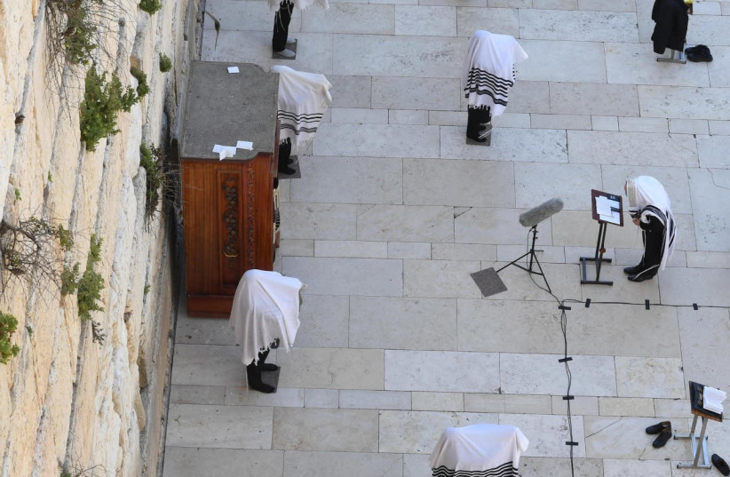 'Limited' priestly blessing at the Western Wall (photo credit: WESTERN WALL HERITAGE FOUNDATION - HAIM ZACH / GPO)