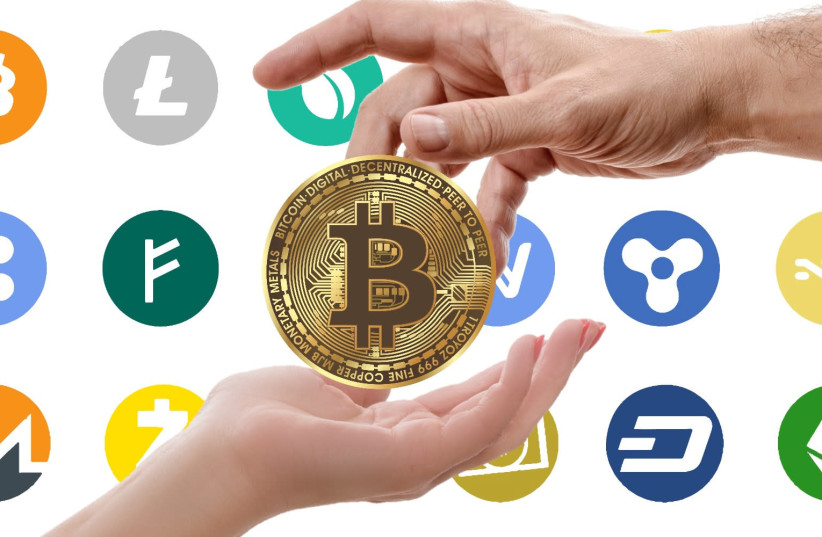Cryptocurrency logos (photo credit: Wikimedia Commons)