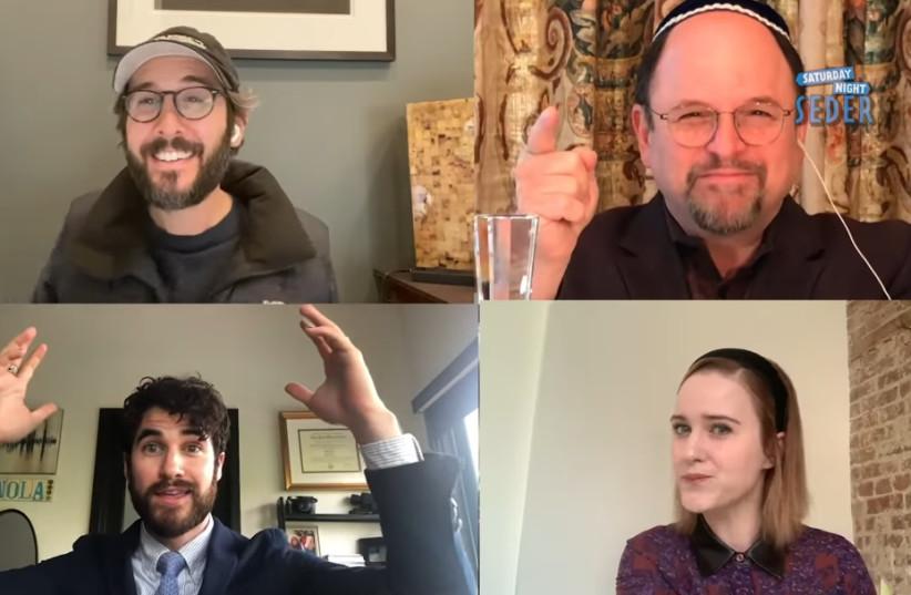 Jason Alexander, upper right, invites non-Jews Josh Groban, upper left, Darren Criss, lower left and Rachel Brosnahan to join in a virtual Seder webcast on YouTube, April 11, 2020 (photo credit: SCREENSHOT/JTA)