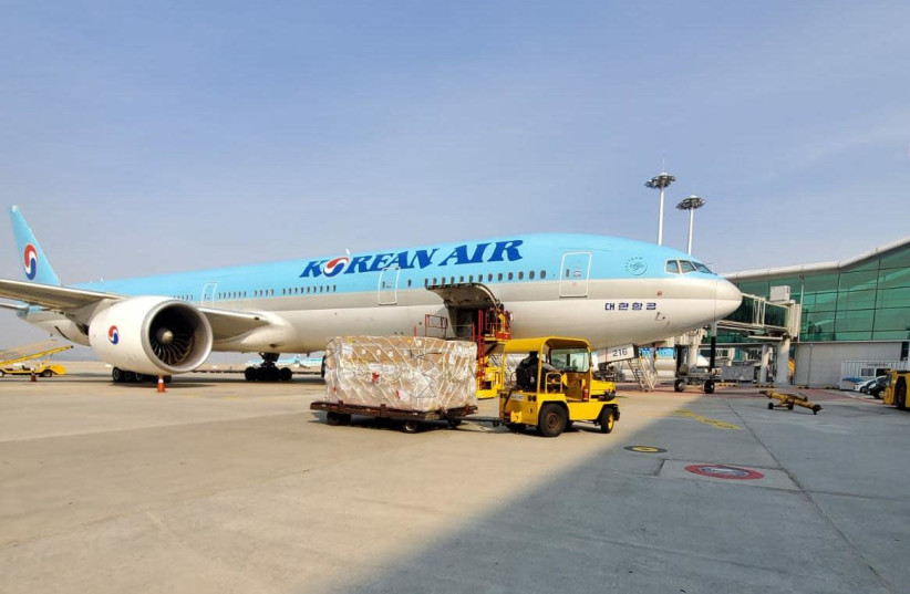 A Korean Air plane bringing chemicals used in coronavirus checks to Israel on April 15 2020  (photo credit: DEFENSE MINISTRY)