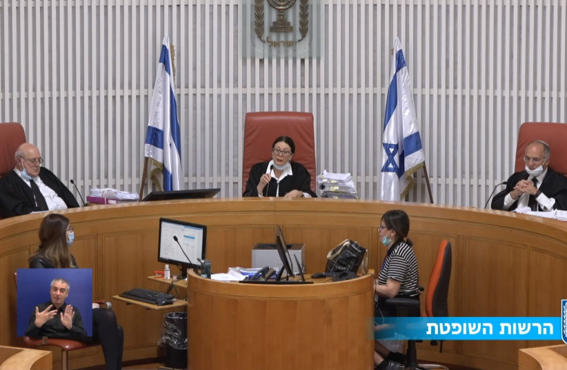 A screen capture of the live stream feed from a hearing at the High Court of Justice (photo credit: screenshot)