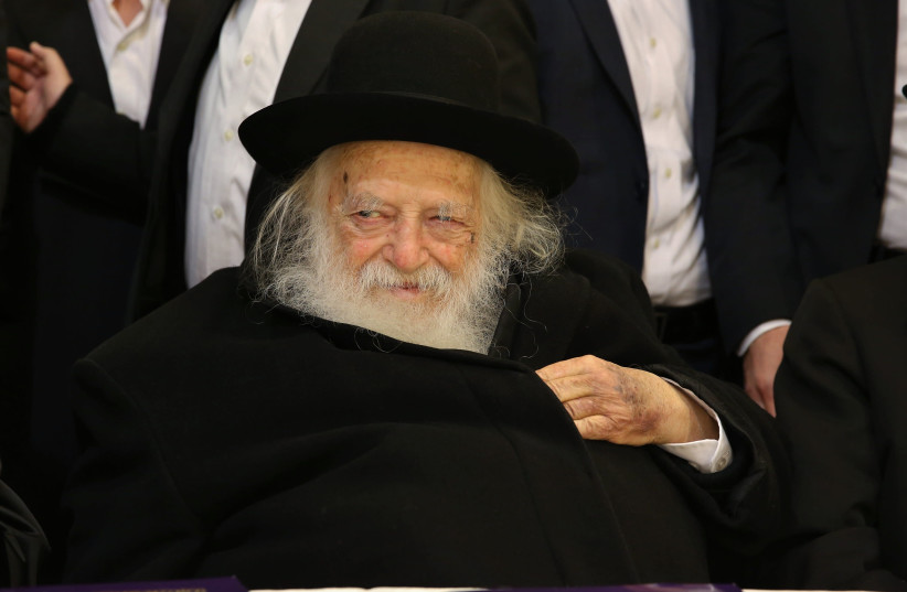 Rabbi Haim Kanievsky takes part in a Rabbi Conference for the foundation for Ultra Orthodox Jews, partners in the Torah, on January 23, 2016 (photo credit: YAAKOV COHEN/FLASH90)