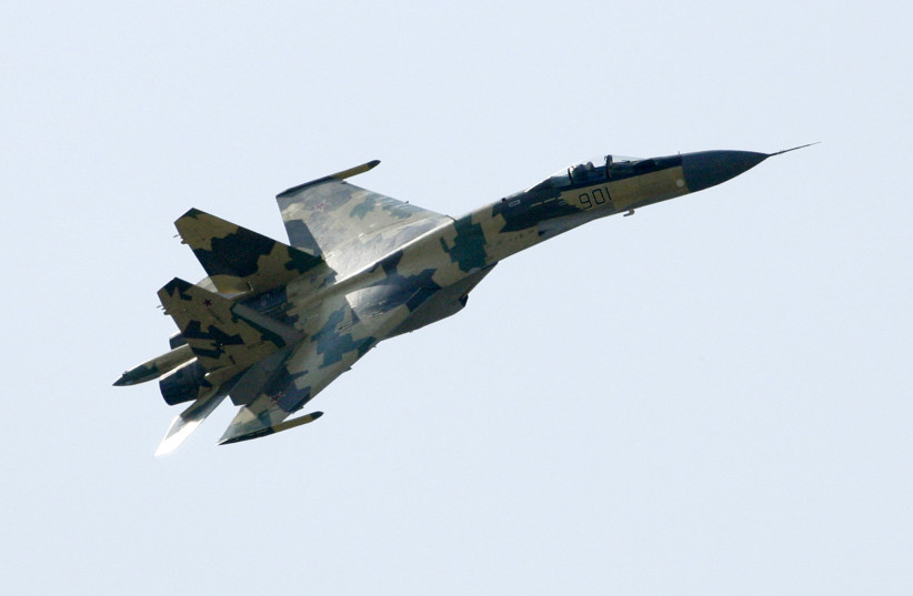 A SU-35 military jet performs during the opening of the MAKS-2009 international air show in Zhukovsky outside Moscow, Russia (photo credit: REUTERS/SERGEI KARPUKHIN)
