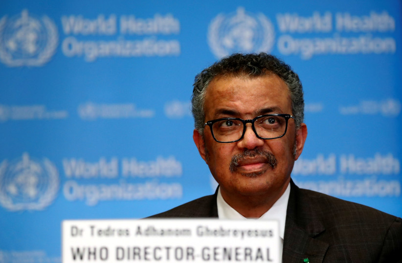 Director General of the World Health Organization (WHO) Tedros Adhanom Ghebreyesus speaks during a news conference on the situation of the coronavirus (COVID-2019), in Geneva, Switzerland, February 28, 2020. (photo credit: REUTERS/DENIS BALIBOUSE)