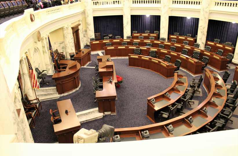 The Idaho House of Representatives Room in Idaho State Capitol Building (photo credit: WIKIMEDIA COMMONS/RICKMOUSER45)