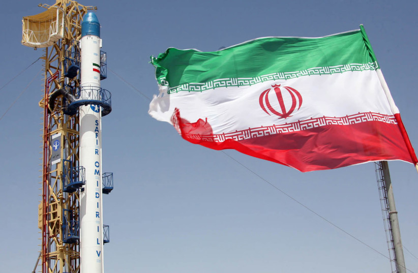 The Safir satellite-carrier rocket, which was designed for Iran's Omid satellite, is seen before launch at Iran's space centre in Tehran in 2009 (photo credit: REUTERS)
