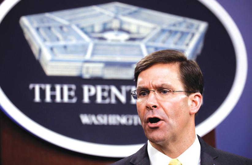 US Defense Secretary Mark Esper speaks to reporters at the Pentagon on March 5 (photo credit: YURI GRIPAS/REUTERS)