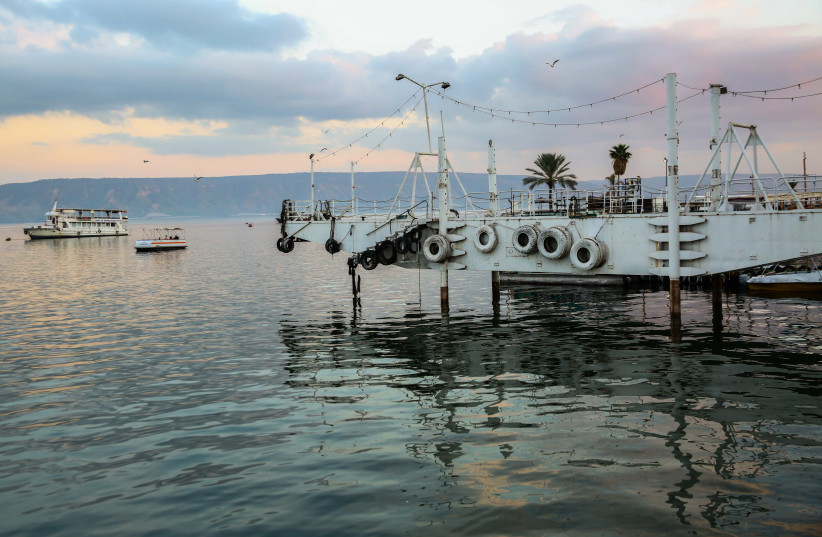 A VIEW of Lake Kinneret from Tiberias in January. The lake continues to rise. (photo credit: DAVID COHEN/FLASH 90)