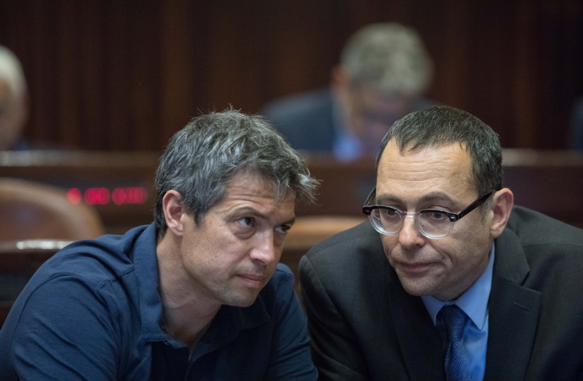 MKS YOAZ HENDEL and Zvi Hauser -  the two holdouts who kept the candidates from going it alone. (photo credit: NOAM REVKIN FENTON / FLASH 90)