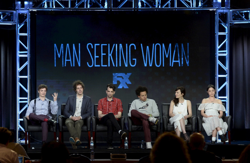 """(L-R) creator and showrunner Simon Rich, executive producer Jonathan Krisel, cast members Jay Baruchel, Eric Andre, Britt Lower and Rosa Salazar participate in a panel for the FX Networks comedy series """"Man Seeking Woman"""" during the Television Critics Association (TCA) Cable Winter Press Tour in Pas (photo credit: REUTERS/KEVORK DJANSEZIAN)"""