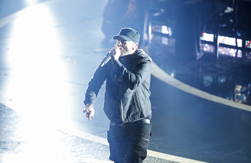 "Eminem performs ""Lose Yourself"" during the Oscars show at the 92nd Academy Awards in Hollywood, Los Angeles, California, U.S., February 9, 2020 (photo credit: REUTERS)"