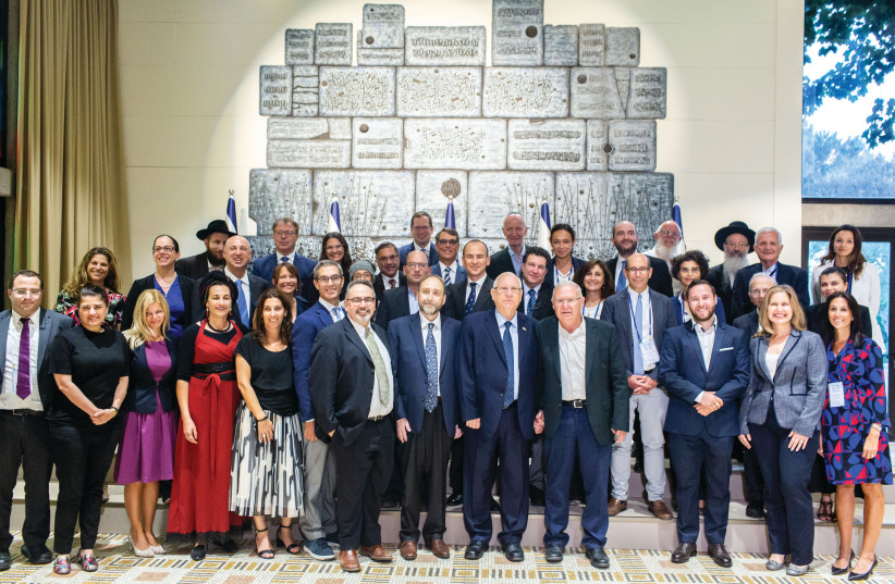 President Reuven Rivlin with members of the Our Common Destiny Forum at the President's Residence in Jerusalem. (photo credit: HAIM ZACH/GPO)