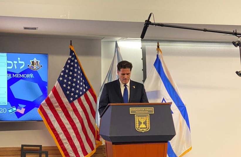 Ron Dermer, Israel's Ambassador to the United States speaks at Israeli Embassy in Washington's Remembrance Day ceremony, April 27, 2020 (photo credit: ISRAELI EMBASSY IN WASHINGTON)