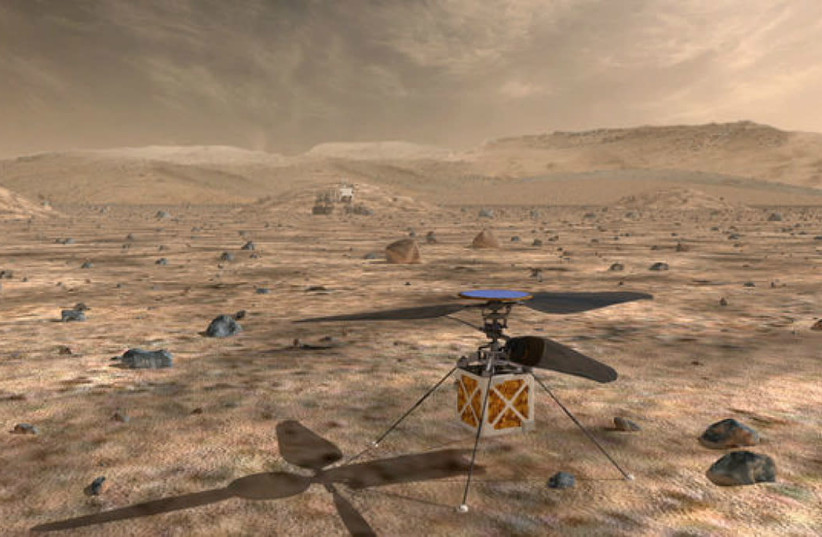 NASA's Mars Helicopter a small autonomous rotorcraft in this artist rendition (photo credit: REUTERS)