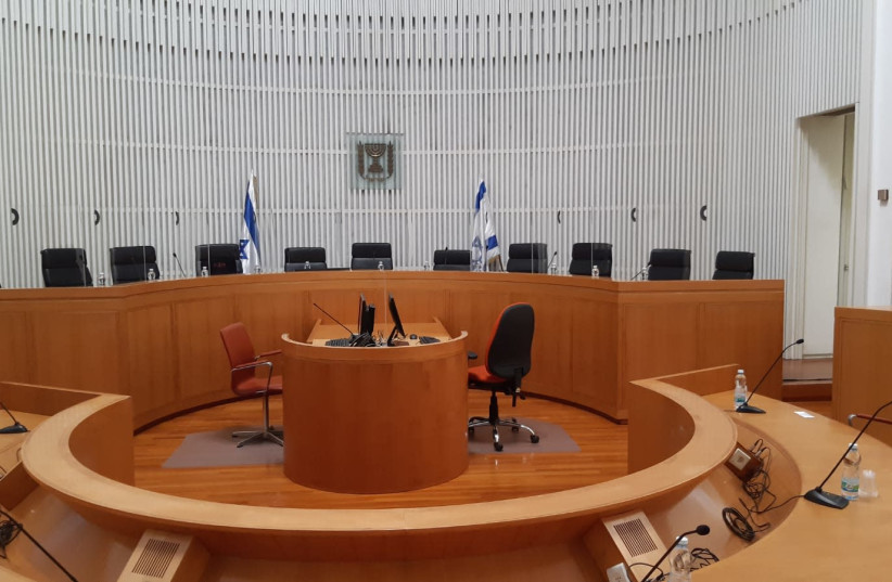 High Court of Justice prepares for hearing on whether Prime Minister Benjamin Netanyahu can form the next government, May 3, 2020 (photo credit: COURTESY HIGH COURT OF JUSTICE)
