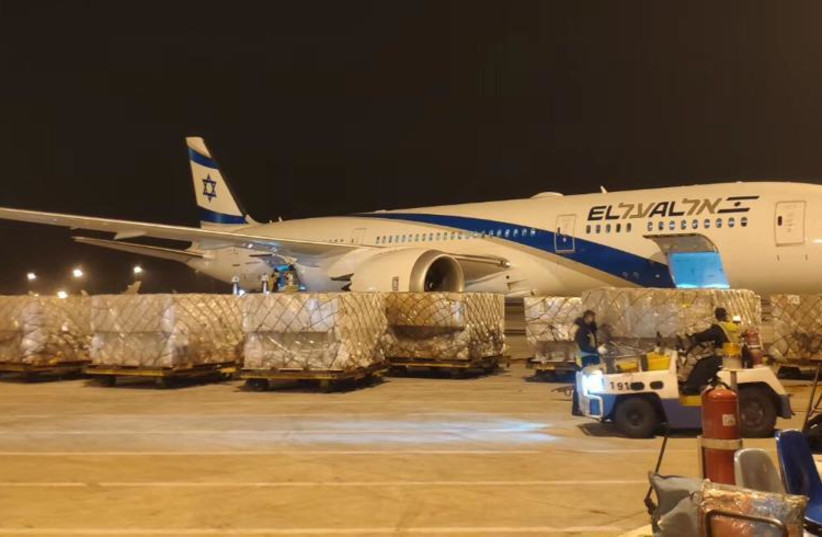 El Al will operate 60 humanitarian cargo flights from the Chinese city of Wuhan (photo credit: EL AL)