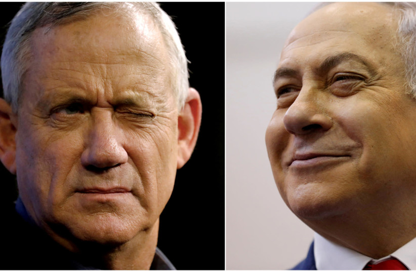 Blue and White leader Benny Gantz and Prime Minister Benjamin Netanyahu (photo credit: REUTERS)