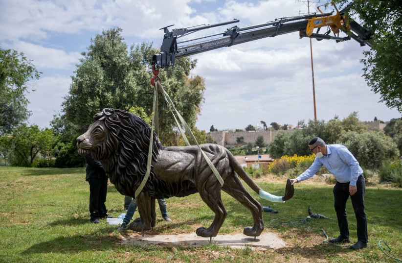 """The bronze statue """"The Lion of Judah"""" is placed in Jerusalem's Bloomfield Garden May 5, 2020 (photo credit: MARC ISRAEL SELLEM)"""