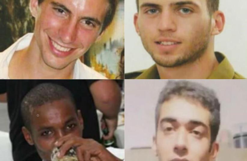 Les Israéliens Hadar Goldin, Oron Shaul, Avera Mengistu et Hisham Al-Sayed détenus par le Hamas à Gaza (crédit : AVEC L'AUTORISATION DE LA FAMILLE/FACEBOOK)
