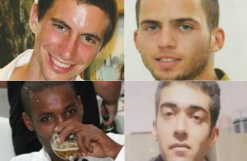 Israelis Hadar Goldin, Oron Shaul, Avera Mengistu and Hisham Al-Sayed being held by Hamas in Gaza (photo credit: COURTESY OF THE FAMILY/FACEBOOK)