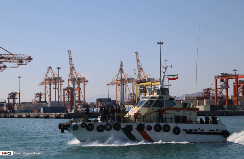 Shahid Rajaei Port in southern Iran near Bandar Abbas (photo credit: EMAD YEGANEHDOOST/FARS NEWS AGENCY/WIKIMEDIA COMMONS)