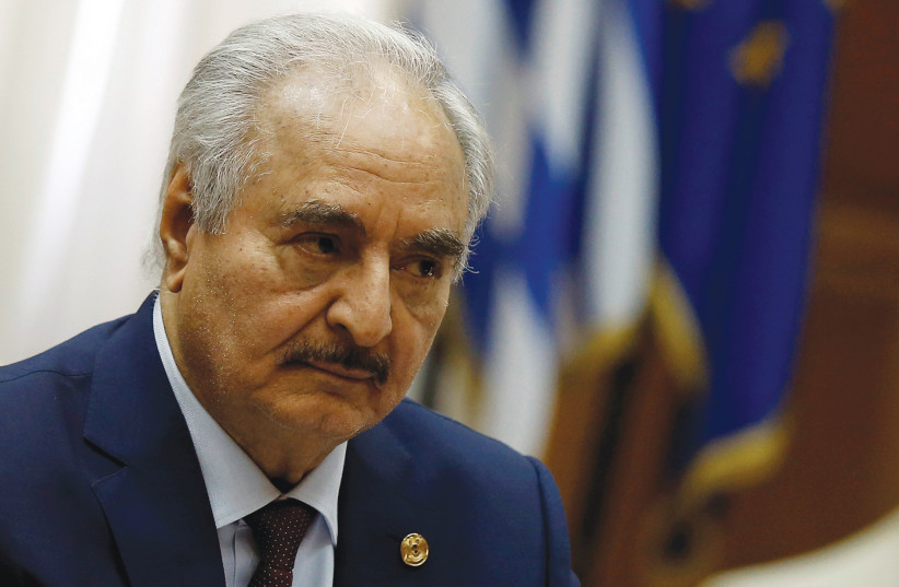 LIBYAN COMMANDER Khalifa Haftar meets Greek Prime Minister Kyriakos Mitsotakis (not pictured) at the parliament in Athens. (photo credit: REUTERS)