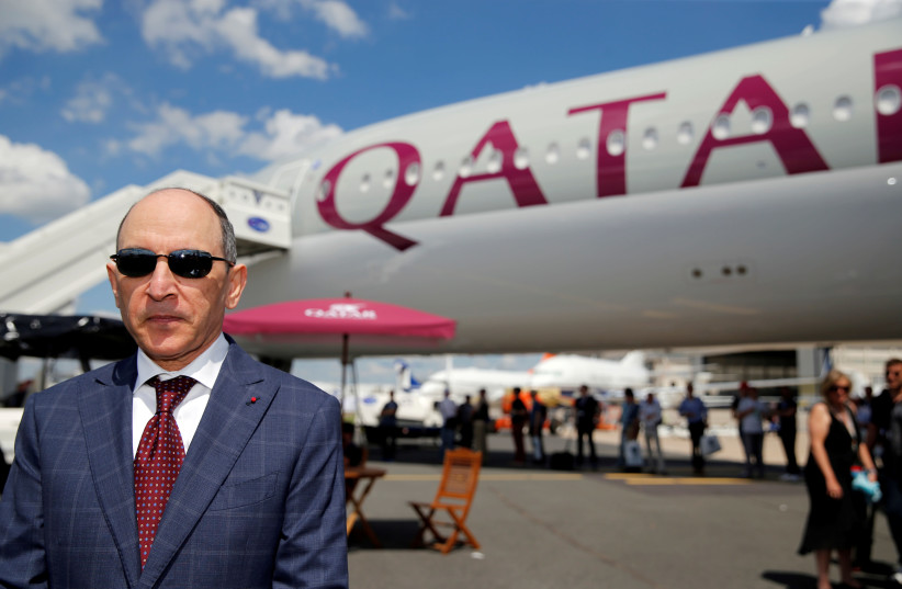 Qatar Airways Chief Executive Officer Akbar Al Baker is seen during the 53rd International Paris Air Show at Le Bourget Airport near Paris, France, June 17, 2019 (photo credit: REUTERS/PASCAL ROSSIGNOL)