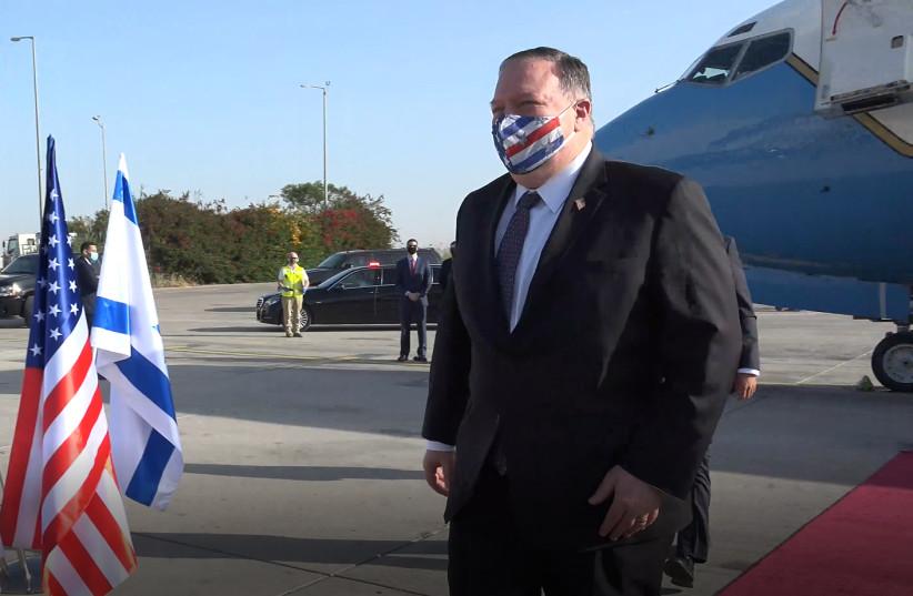 US Secretary of State Mike Pompeo arrives in Israel, May 13, 2020 (photo credit: ZIV SOKOLOV/US EMBASSY JERUSALEM)