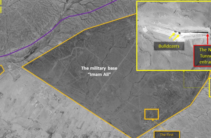 Satellite images captured on May 12 showing an Iranian underground facility being built on the Syrian-Iraqi border (photo credit: IMAGESAT INTERNATIONAL (ISI))
