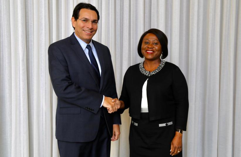 Israel's Ambassador Danny Danon and Ghana's Ambassador Martha Pobee (photo credit: ISRAEL MISSION TO THE UN)